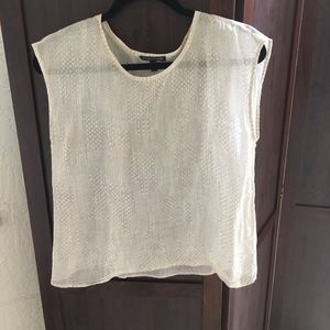 Eileen Fisher-Ivory- Snake Print Sheer Top- XXS